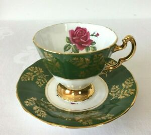 Adderley Tea Cup and Sauce-Dark Green & Gold with Rose Pattern