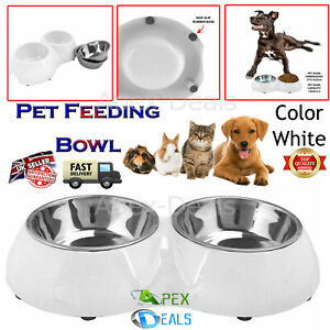 Double Pet Bowl Dog Cat Twin Food Water Dish Feeding Station Removable Bowls New