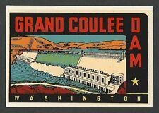 "VINTAGE ORIGINAL 1950 ""GRAND COULEE DAM"" WASHINGTON STATE TRAVEL WATER DECAL ART"