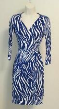 Diane von Furstenberg New Julian two Tiger Shadow purple white 6 wrap dress DVF