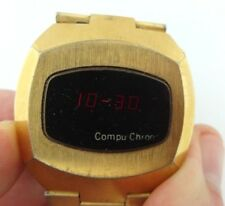 Vintage CompuChron Compu Chron Gold tone Red  LED  Mens Watch Working!