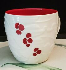 Starbucks 2010 Christmas Coffee Mug Cup White Red Berry Embossed 16 oz. Mint