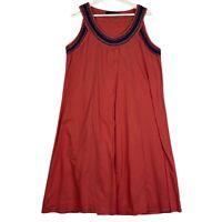 ANNA HOFFMANN Women's Sz 12 Orange Sleeveless Beaded Scoop Neck Boho Dress
