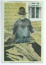 A Gaspe Fisherman Curing Codfish, Canada Postcard