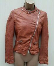 10 UK KAREN MILLEN Urban Luxe Distressed Soft Tan Leather Biker Jacket
