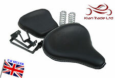 BLACK LEATHER CLASSIC HARLEY STYLE SADDLE SEATS TRIUMPH ROYAL ENFIELD