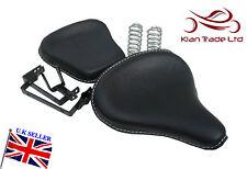 Negro cuero clásico estilo Harley Silla asientos Triumph Royal Enfield