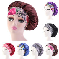 Women Satin Night Sleep Cap Hair Bonnet Hat Head Cover Wide Elastic Band Turban
