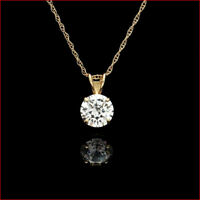 2.00 Ct Round Diamond Pendant 14K Yellow Gold Over Solitaire Charm 9mm