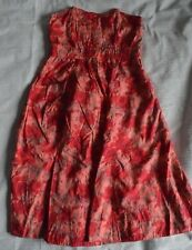 H&M Ladies Pink Floral Strapless Summer Dress knee mid length UK Size 8 teen