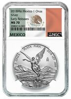 2018 Mexico 1oz Silver Libertad NGC MS70 ER - White Core - Flag Label