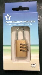 COMBINATION PADLOCK Solid Brass 3 Digit Lock Holiday Security Bag/luggage