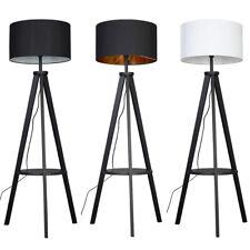 Black Wood Floor Lamp Tripod Base Storage Shelf Living Room Light LED Lighting