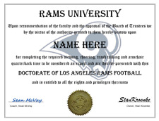 LOS ANGELES RAMS PERSONALIZED FAN DIPLOMA, GREAT GIFT