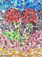 """MID CENTURY MODERN MOSAIC ART Rose  Stands only Primitive Hand made 14"""" x 11"""""""