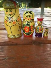 Russian Matryoshka 6.5� Nesting Stacking Dolls 4 pieces Red Flowers Yellow