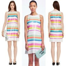 NWT $598 Kate Spade White Pink Cape Stripe Sequin Lined Dress Sz 8