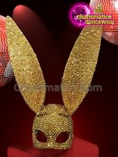 CHARISMATICO Gold beaded crystal bunny play boy diva show girl mask