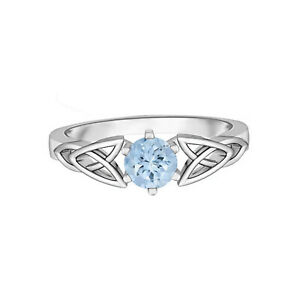 Celtic Knot Ring!! 5 MM Round Aquamarine Solitaire Ring 10K White Gold