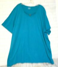 Catherines 3X 26-28W Teal Cotton Blend Scoop Neck  Short Sleeves Knit Top