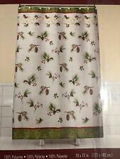 Painterly Pinecones Fabric Shower Curtain Saturday Knight LTD SKL Cabin MSRP $32