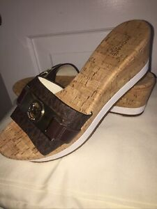 "Michael Kors NEW Cork Wedge Sandals Size 8.5 - Brown w Gold ""MK"" Logo Women"