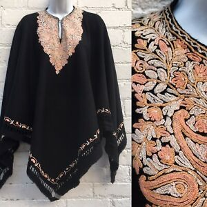 Vintage antique embroidered poncho cape cloak black crewelwork hippy boho wool