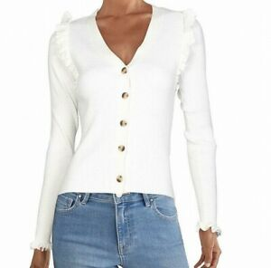 INC Womens Sweater White Ivory Size Small S Ribbed Ruffle-Trim Cardigan $69 013