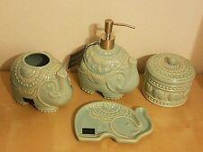NEW (Set of 4) Cynthia Rowley ELEPHANT Aqua Bathroom Soap Dispenser Dish Holder