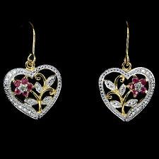 REAL RED PINK RUBY & 2pcs. PEACH DIAMOND , 2-TONE 925 SILVER HEART DROP EARRINGS