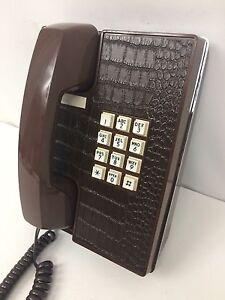 Vintage Western Electric Touchtone  Alligator Look Brown Desk Phone Works Great