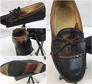 FootJoy Loafers Shoes Sz 9.5 C Black Brown Kilt Tie Made In USA EUC YGI L6-1