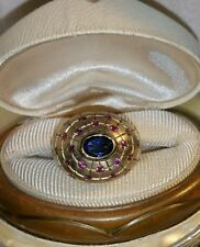 Dallas Prince Satin 18k Yellow Gold vermeil sterling silver Iolite rhodolit Ring