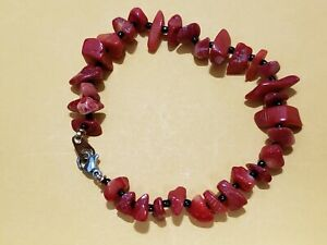 "COLLECTABLE,HAND MADE GENUINE CORAL BRACELET- 7.5"" Long, USA"