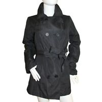Womens Ladies Black Mac Jacket Fully Lined Double Breasted Collar Belt 6 8 10