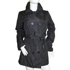 Ladies Black Versatile Fully Lined Double Breasted Collar Tie Belt Mac Jacket