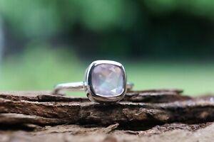 Rose Quartz Sterling Silver Ring Gemstone 925 Fine Silver Cushion Handmade Ring