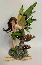 Thinking of You Meadow Faery w Snail Mushroom Fairy Statue Figurine Amy Brown