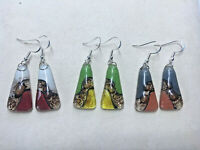Handmade Fused Glass Earrings - 925 Silver Wires