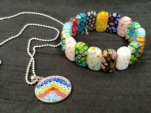 ITALIAN MILLEFIORI GLASS PENDANT IN 925 SILVER WITH MATCHING GLASS BRACELET