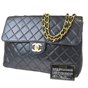 Auth CHANEL CC Matelass Chain Shoulder Bag Leather Black Gold France 805R358
