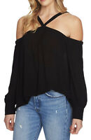 NWT Women's 1. State Black Cold Shoulder Halter Neck Top Blouse Sz Medium