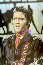 ELVIS PRESLEY IN BLACK WITH RED SCARF & GUITAR TV SPECIAL 1968 PHOTO CANDID