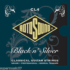 Rotosound CL4 Black n' Silver  Pro Nylon Classical Guitar Strings Normal Tension