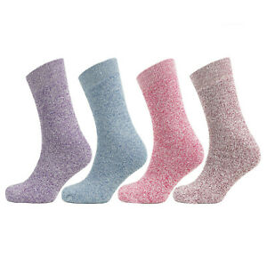 Womens Soft Comfort Outdoor Boot Socks Ladies Cotton Rich Melange Marl Colours