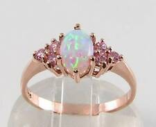 CLASSIC 9K 9CT ROSE GOLD AAA OPAL & PINK SAPPHIRE ART DECO INS RING FREE RESIZE