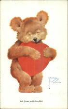 Lawson Wood Teddy Bear Hugs Giant Heart Fantasy c1915 Postcard