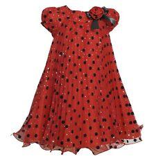 Bonnie Jean Pleated Polka Dot Dress Holidays Formal NWT 10 Red Shimmer Wedding