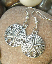 "Lovely Sand Dollar Starfish Earrings 1.6"" *Beach Ocean Sealife FREE SHIP"