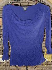 New Womens Sz S Valerie Stevens 3/4 Sleeve Sapphire Top Retails $49